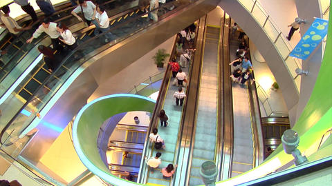 Escalators In Singapore Shopping Centre Stock Video Footage