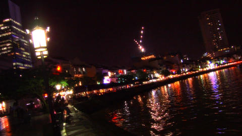 Singapore Nightlife At Boat Quay Stock Video Footage