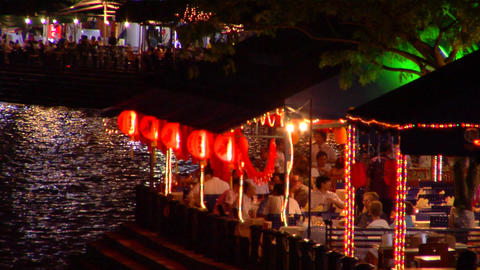 Boat Quay Restaurants Stock Video Footage