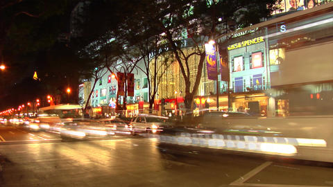 Singapore Orchard Road At Night Footage