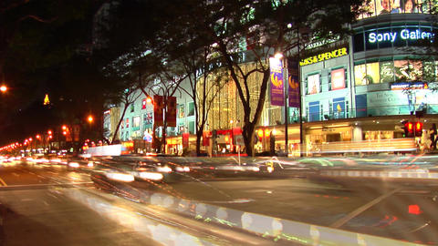 Singapore Orchard Road At Night Stock Video Footage