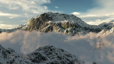 (1020) Snow Mountain Wilderness Clouds Fly-through Footage