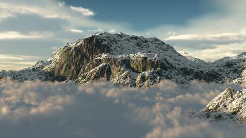 (1020) Snow Mountain Wilderness Clouds Fly-through Stock Video Footage