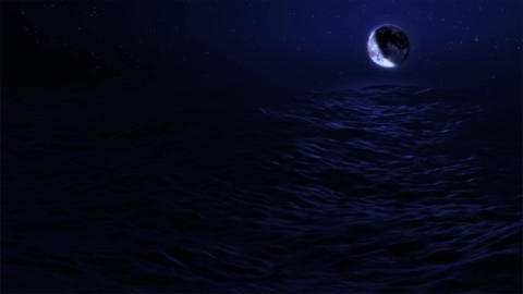 (1029) Eclipse Blue Moon Over Night Ocean adn Meteorite Stock Video Footage