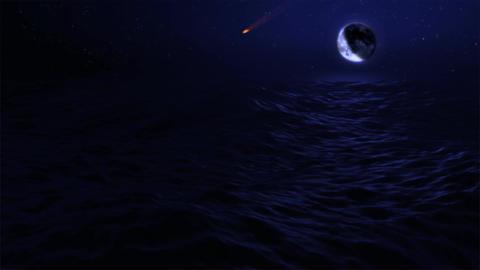 (1029) Eclipse Blue Moon Over Night Ocean adn Meteorite Animation