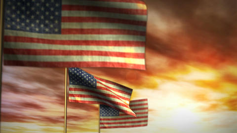 1043 American Flags Billowing with Sunset Sky Animation