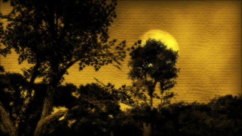 1057 Painted China Moon Forest Stock Video Footage