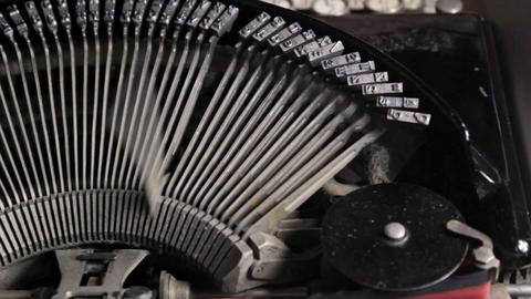 Tracking Typewriter Stock Video Footage