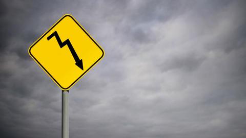 Hazard Roadsign Stock Video Footage