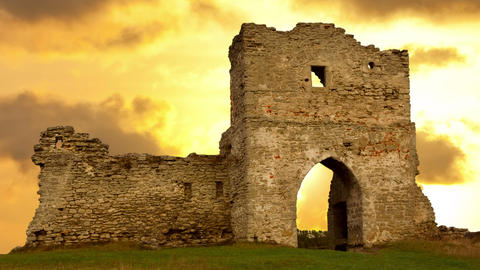 Ruined gates of cossack castle at sunset Footage