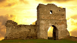 Ruined gates of cossack castle at sunset Stock Video Footage