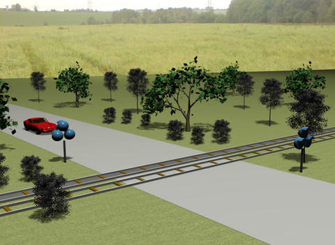 Cars on the railway crossing Animation