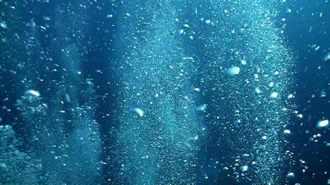 Air Bubbles in the Blue Water, deep Stock Video Footage
