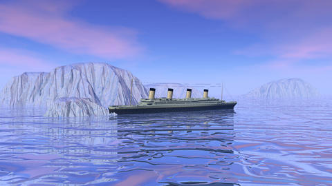 Titanic boat sinking - 3D render Animation