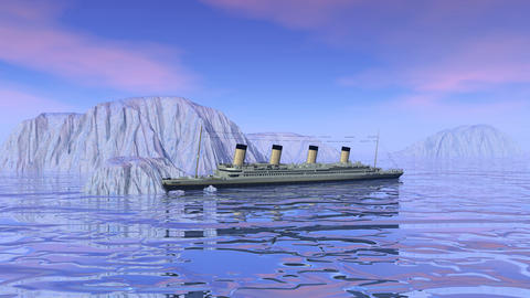 Titanic boat sinking - 3D render Stock Video Footage