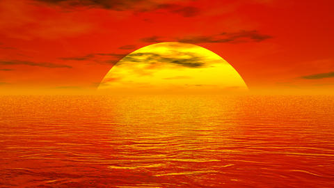 Sunset over ocean - 3D render Stock Video Footage