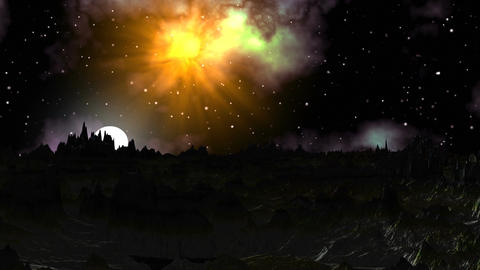 Moonrise on a gloomy planet Stock Video Footage