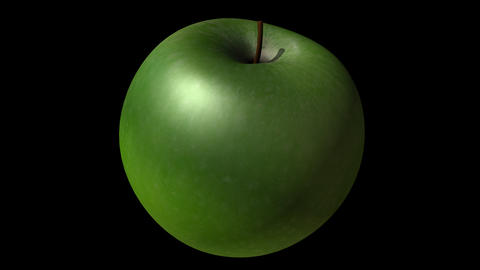 Keyable Realistic Rotating 3D Green Apple With Alpha stock footage