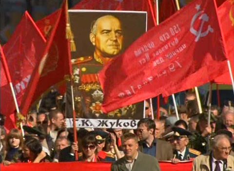Demonstration of the red banner Stock Video Footage
