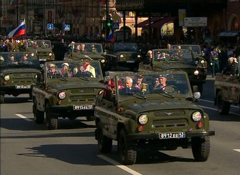 The military machine in the festive parade Footage