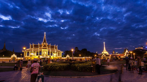 Timelapse of Phnom Penh Grand Palace at Sunset Stock Video Footage