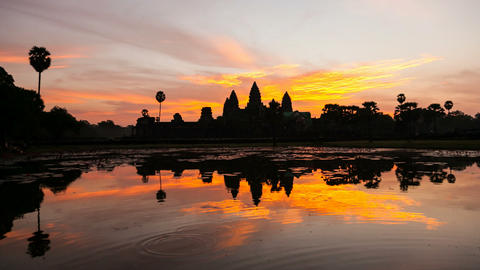 Timelapse of Angkor Wat at Sunrise Stock Video Footage