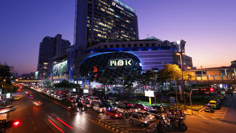 Timelapse - MBK Center at sunset - Bangkok Stock Video Footage