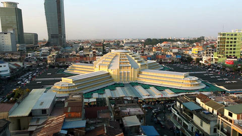 Phnom Penh Central Market - Zooming Stock Video Footage