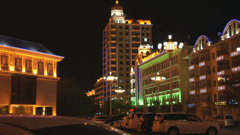 黑河 Heihe Night Town View 02 Stock Video Footage