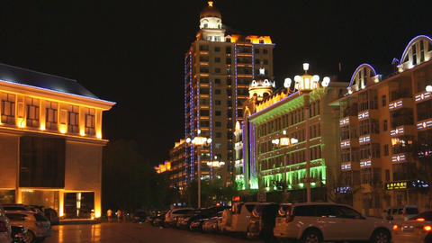 黑河 Heihe Night Town View 02 Footage