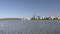 Wide Angle View of Perth City and the Swan River Stock Video Footage
