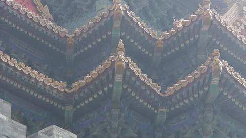 Carved beams & painted buildings.sculpture on roof eaves,China ancient archi Footage