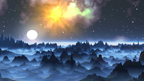 Moonrise on a foggy planet Stock Video Footage