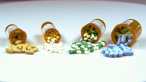 Assorted pills in bottles Footage