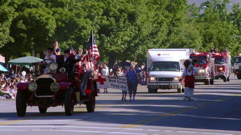 Clip of cheerleaders in a parade Footage