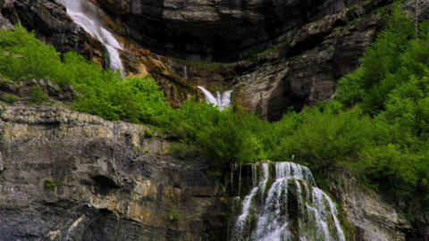 Tilt shot of the full height of Bridal Veil Falls in Provo, Utah Footage