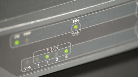 Port leds on a network router Footage