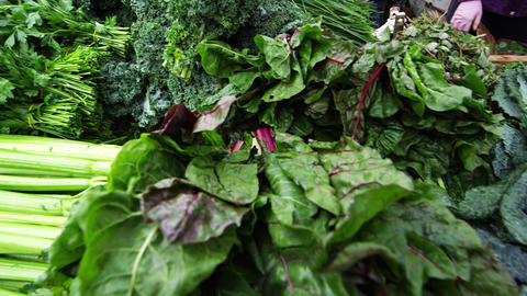 Fresh produce at market in San Francisco Footage