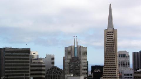 Pan of San Francisco skysrapers Footage