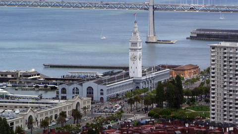 View of San Francisco Bay Bridge and buildings Footage