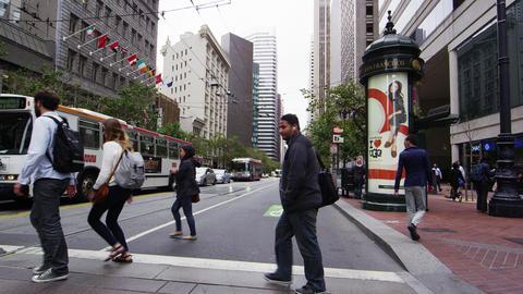 Crossing the street in San Francisco Footage