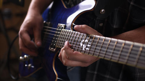 View of hands playing electric guitar Footage
