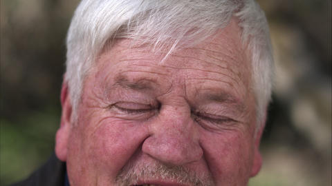 Up close view of older mans eyes Footage