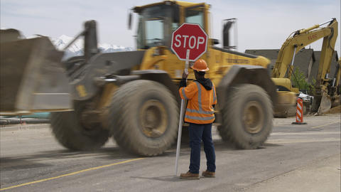 Static shot of road construction with a bulldozer Footage