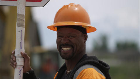 Close up of a black road construction worker Footage