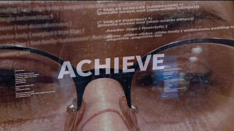 Achieve text on background of developer Footage