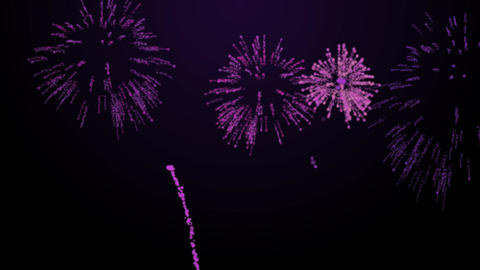 firework bursts over black background animation purple tint Animation