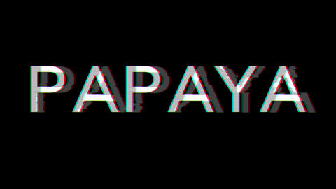From the Glitch effect arises fruit PAPAYA. Then the TV turns off. Alpha channel Premultiplied - Animation