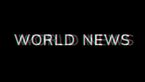 From the Glitch effect arises common expression WORLD NEWS. Then the TV turns off. Alpha channel Animation