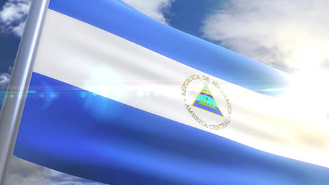 Waving flag of Nicaragua Animation Animation